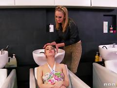 Lesbian sex at the salon with a hairdresser and a cute customer
