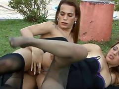 TransPantyhose Video: Evelyn and Vivi