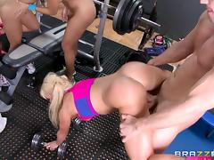 They had an interesting way to workout,they fucked in the gym