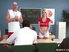 Bald teacher likes to teach sexual education in practice, not theory
