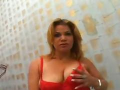 Hot Milf in red faces Fat cock in her Ass