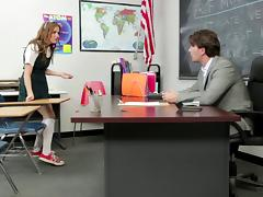 Slutty teen takes cock from her French teacher for a better grade