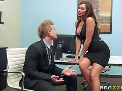 Even in the office this hot ass chic still has time for a superb titjob