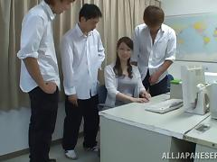 Breasts examined and covered in cum in a Japanese foursome
