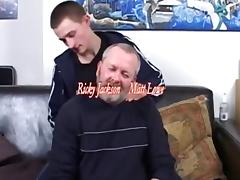 Mature man and youg boy fucking and eating cum.
