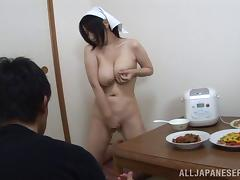 What a seductive chubby wife that seeks for attention at the dinning table!!!