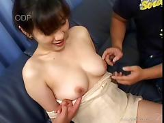 Mako Fukatsu gives a blowjob and gets fucked by two lewd guys