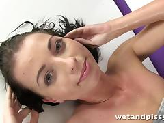 Piss Drinking, Babe, Brunette, Fetish, Masturbation, Pissing