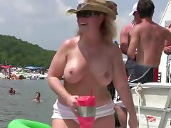 Amateur skanks flash their natural tits in reality video