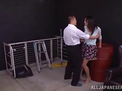 He fucks a Japanese girls mouth and pussy in a warehouse