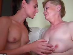 A guy fucks a granny and a younger chick have a wild threesome