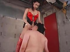 Femdom Asian Mistress dominates sissy slave with Strapon
