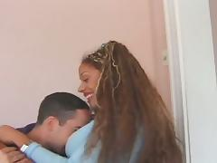Ebony babe fucked hard by an massive cock on a cushion