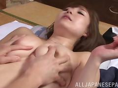 Curvy Asian housewife with big boobs getting her pussy licked