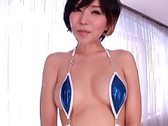 A fit, hot Asian girl in a micro bikini gets her pussy poked