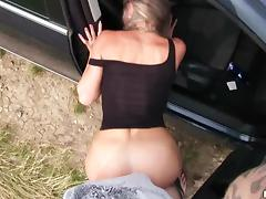 Hitch Hiker, Blowjob, Car, Horny, Naughty, Outdoor