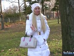 Amateur blondie Euro slut Kiara banged in exchange for money