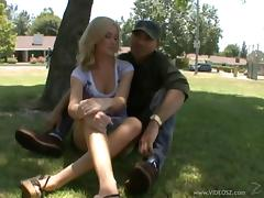 Appealing Blonde In Miniskirt Getting Penetrated From All Directions