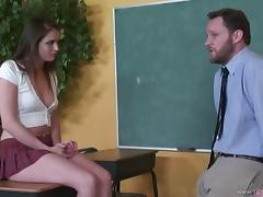 Astonishing girl Tori Black, wearing a miniskirt, blows and gets fucked