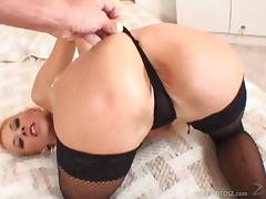 Stunning babes in stocking getting her hairy pussy screwed hardcore in pov shoot