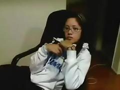 Asian immature with glasses masturbation