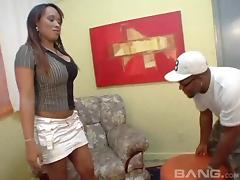 Big tits Latina sucks and fucks barebacked with an ebony cock