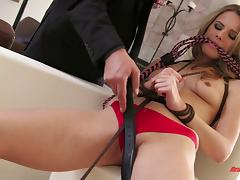 Beautiful porn star with a fantastic body being tortured and fucked by a stranger