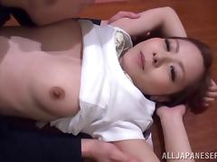 Natural Japanese slut take sa huge load on her perfect tits