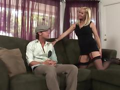 Horny milf is sexy stockings seduce a young shy guy for a threesome