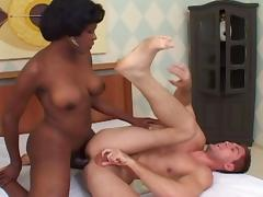 Black shemale gets a full treatment from a horny white gay guy