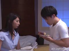 He finds her Japanese tits alluring and wants to fuck her pussy