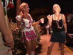 Mature amateur slut shows ass in miniskirt in street party