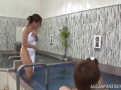 In a pool a Japanese girl meets a guy and gets fucked by him
