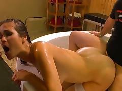 666 Bukkake: Piss and cum fiesta with German girl.