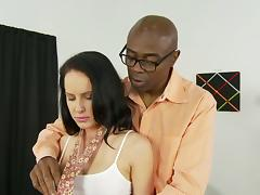Hot brunette with a hot ass in sexy  panties being humped by a big black cock