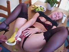 Hardcore anal doggy style sex with cute blonde wearing stockings