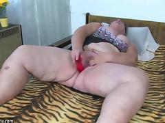 Guys fuck a cutie as the frisky granny masturbates in a group video