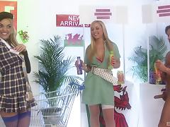 Fashion models try on clothes and get drilled by a hung dude