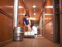 Kelly the co-ed sucks and fucks beer delivery dude
