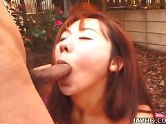 Amateur Asian babe Narumi Anzai gets fucked in the backyard