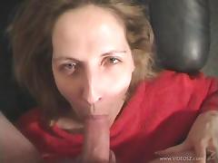Marie Madison gets mouth covered with cum after sucking cock