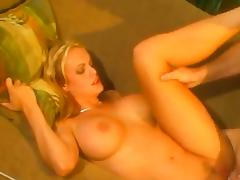 Bosomy blonde called Stormy shows her cock-riding skills