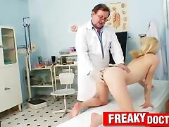 Amateur blonde visits wicked gynecologist