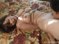 He ties up an Asian slut then eats and fucks her pussy