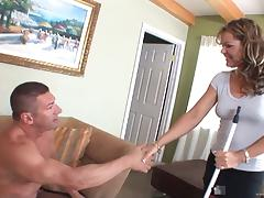 Compassionate cougar with natural tits licking massive balls passionately