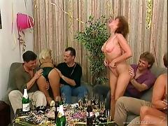 Marvelous MILF with natural tits is slammed nicely in Hardcore group sex