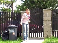 Appealing Carla gives a hard handjob to a total stranger