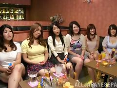At a night out wild Asian party girls give strange men blowjobs