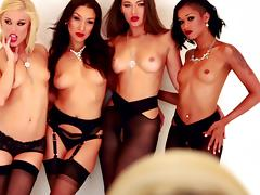 Ladies in black nylons have a wild lesbian dildo orgy