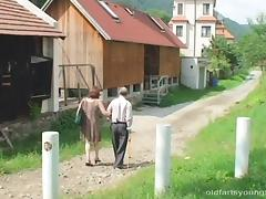 Old couple convinces the cute blonde with big tits to join them